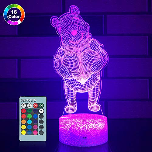 SETIFUNI Bear lamp Bear Gifts 16 Colors Changing 3D Optical Illusion Bedside Lamp As a Gift Ideas for Girls