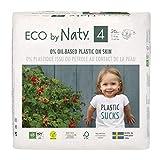 Eco by Naty Pañales, Talla/Tamaño 4, 26 unidades, 7-18 kg, Pañal ecológico Premium hecho a base de fibras vegetales. 0% plásticos derivados del petróleo en contacto con la piel