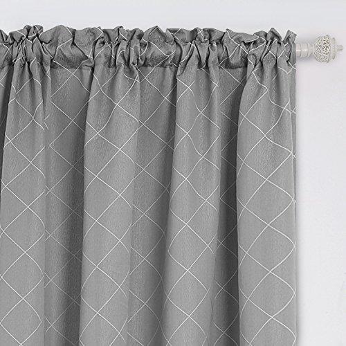 Deconovo - Cortinas para Ventana de Jacquard, con diseño de Enrejado, para Puertas correderas de Vidrio, 132 x 160 cm, Color Gris rombo