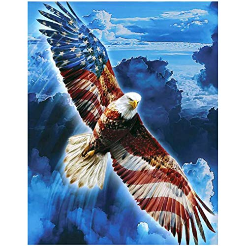 KTHOFCY 5D DIY Diamond Painting Kits for Adults Kids Flag and Eagle Full Drill Embroidery Cross Stitch Crystal Rhinestone Paintings Pictures Arts Wall Decor Painting Dots Kits 17.7X13.8 in