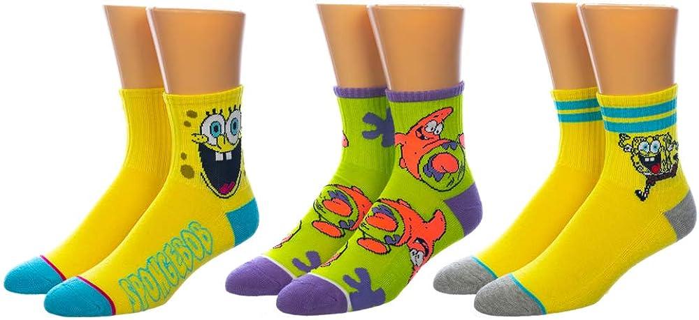 Spongebob Quarter Mens 3Pk Socks Set