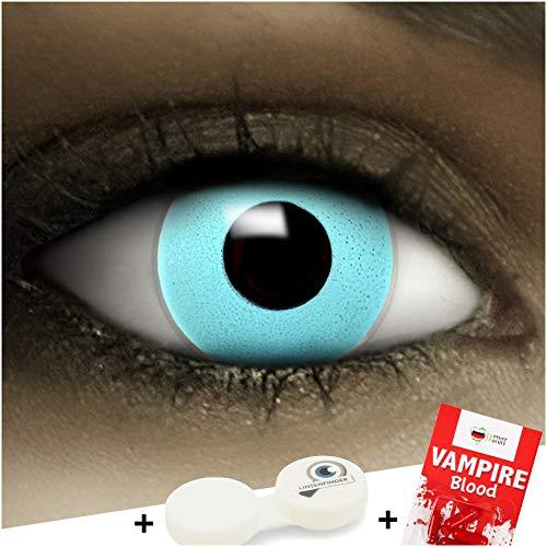 Farbige Kontaktlinsen ohne Stärke Blau + Kunstblut Kapseln + Kontaktlinsenbehälter, weich ohne Sehstaerke in blau, 1 Paar Linsen (2 Stück)