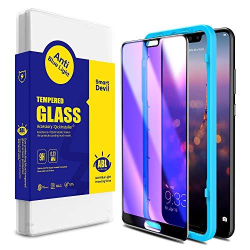 SMARTDEVIL für Huawei P20 Pro Panzerglas Schutzfolie [2 Stück], Anti Blaulicht Schutzfilm, 9H Festigkeit, Anti-Kratzen,[3D Vollständige Abdeckung] [Anti-Fingerabdruck] Bildschirmschutzfolie für Huawei P20 Pro