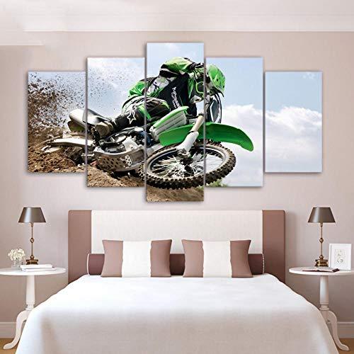 TACBZ 5 Stück Leinwand, moderne Kunst Dekoration Bild High Definition 5 Kawasaki Grün Motorrad Außen Ölgemälde Kunstdruck auf Leinwand, Büro zu Hause, 150 x 100 cm