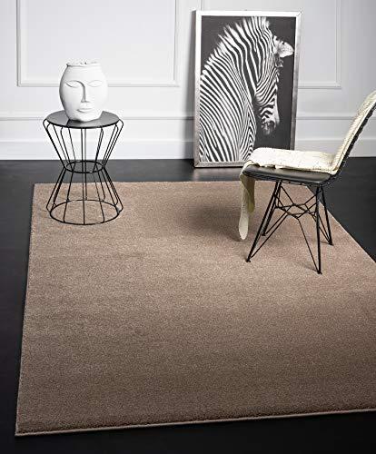 Mia´s Teppiche Emma - Alfombra de salón de Pelo Corto de 17 mm, 120 cm, Redonda, Polipropileno, Beige, 17 cm