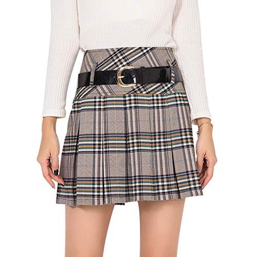 Hongxin Plisada Faldas para Mujeres Clásicas de Escocesa Tartán Cuadros Estilo Colegiala A-Line Minifalda Otoño Invierno De Lana Térmicos Falda Corta