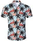 ALISISTER Camisa Hawaiana Hombre Floral Camisa de Manga Corta Impresa Shirts Colorida 3D Flamingo Camisa Tropical de Down Button Aloha Verano Camisas L