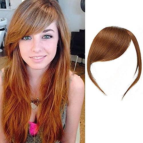 Pelo humano Real flefleclip en flefleflelaterales extensiones de pelo de franja recta (Color marrón claro, con los templos)