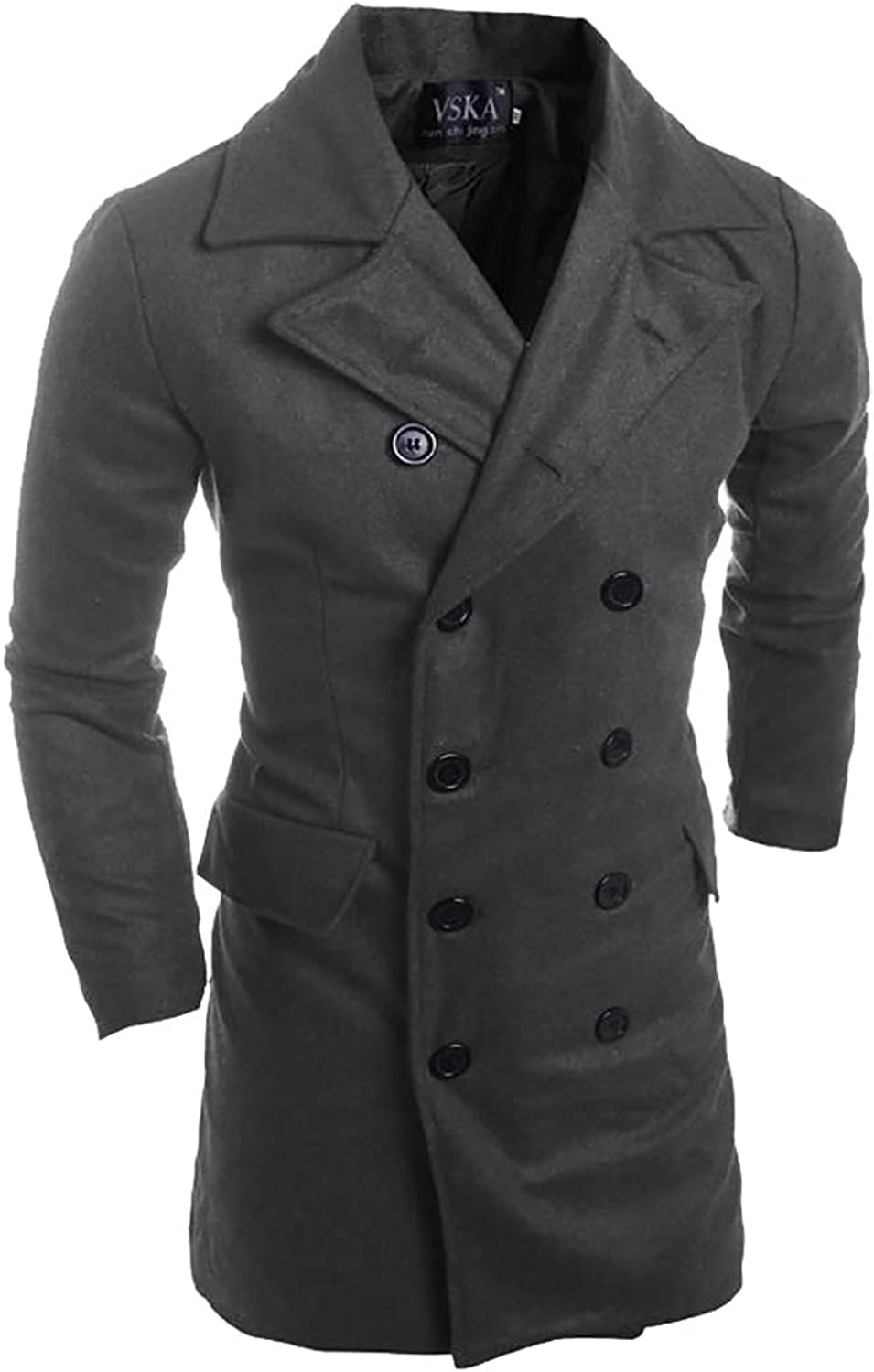 LEISHOP Men's Fashion Trench Trench Trench Coat Winter Long Jacket