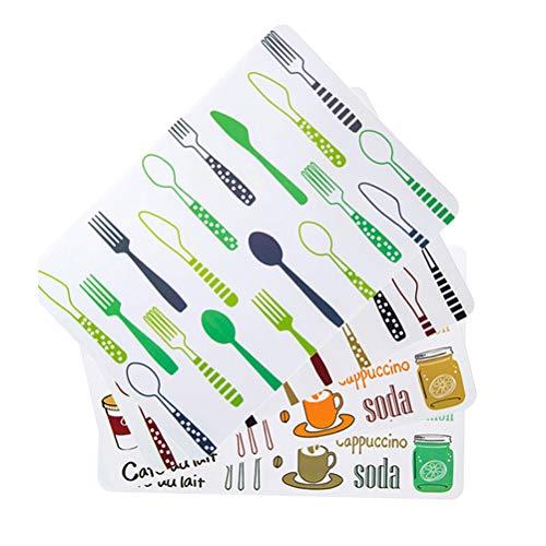 SPDYCESS Manteles Individuales Plastico, Manteles Aislantes Térmicos Resistentes A Las Manchas Manteles Individuales Lavables Antideslizantes para Cocina Juego de 4