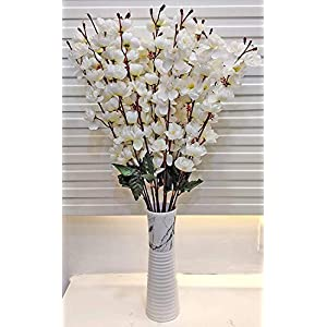 ARTSY Artificial Flower for Home Decoration Cherry Blossom Flower Bunch White