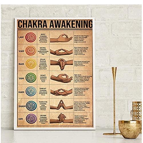 FUXUERUI Estilo Vintage Yoga Chakra despertar cartel de arte de pared impresiones en lienzo cuadros de pintura para decoración del hogar,40x60cm sin marco
