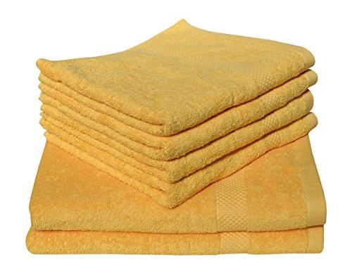 Toalla de rizo de color amarillo, 50 x 80 cm