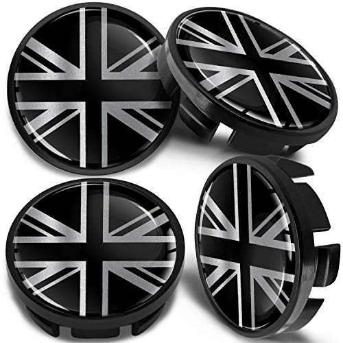 SkinoEu 4 x 75mm Wheel Centre Alloy Hub Center Caps Compatible for Part Numbers B66470207 B66470200 Hubcaps Black CM 0