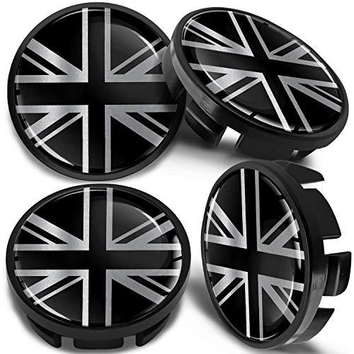 SkinoEu 4 x 65mm Tapas de Rueda de Centro Centrales Llantas Aluminio Compatibles con Tapacubos VW Número de Pieza 3B7601171 / 6U7601171 Negro Plata Bandera del Reino Unido UK CV 29