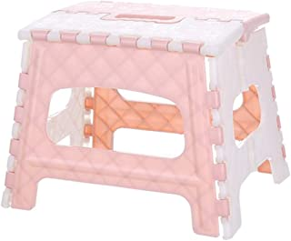 Anyren Multi Purpose Folding Step Stool Home Train Outdoor Storage Portable Plastic Foldable Stool Fishing for Home Bathroom Train Fishing Outdoor (Pink)