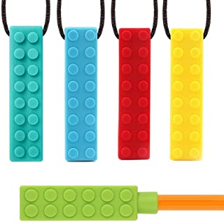 Sensory Chew Necklace Autism ADHD Teething Toys for Kids 5 Pack Chewy Sticks for Boys and Girls Silicone Chewies