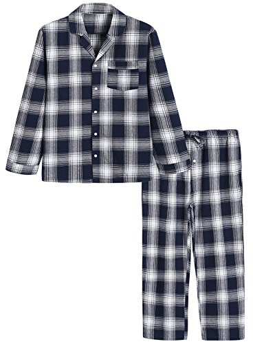 Image of Blue Plaid Flannel Pajamas for Men - See More Colors