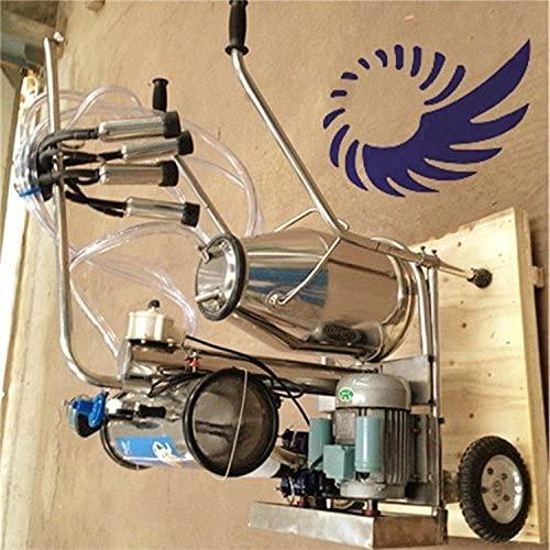 Equipo para el hogar Industrial Agrícola Nuevo 220V Granja Oveja Ordeñadora de lácteos Ordeñadora Máquina recolectora de leche Juego con un tanque de cubeta Contenedor Carro de barril Bomba de vací
