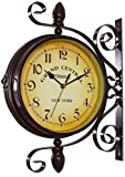 ZCG Draußen Doppelseitige Uhren Paddington Bahnhofsuhr mit wetterfestem Gehäuse, Premium-Metallmaterialien, Vintage Wandmontage, Hängedekor für Innen und Garten