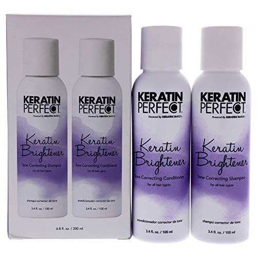 Keratin Perfect - Keratin Brightener Duo - Champú y acondicionador corrector del tono