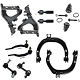 Detroit Axle - Complete Upper and Lower Control Arms w/Ball Joints, Sway Bar Links, Inner Outer Tie Rod Ends Kit for Chevy Trailblazer and GMC Envoy w/ 16mm Thread - 12pc Kit