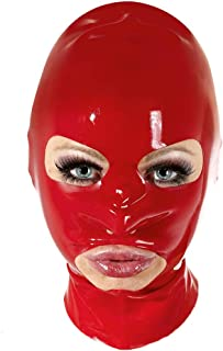 Unisex Latex Mask Shaped Oval Eyes Nose Mouth Rubber Hood with Zipper