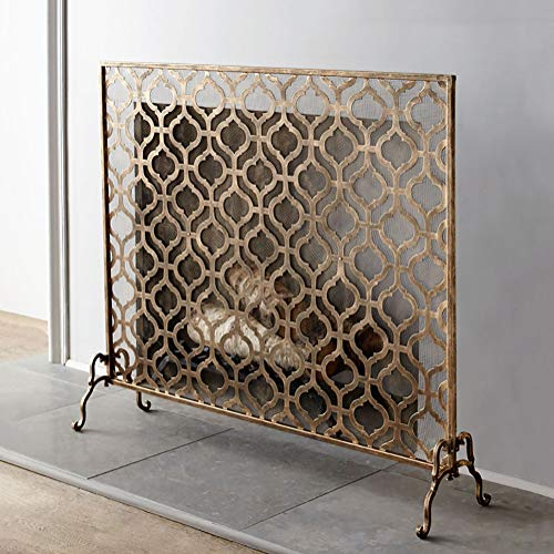 Fantastic Deal! Single Panel Wrought Iron Fireplace Screen, Solid Baby Safe Fireplace Fence Spark Gu...