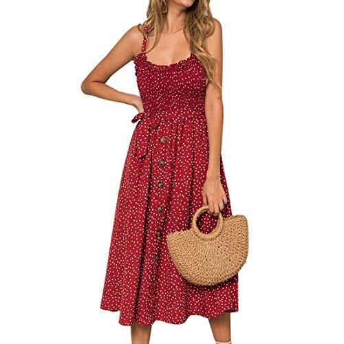 Puimentiua Vestido Casual de Verano para Mujer Vestido A-línea con Estampado de Playa sin Mangas y Hombros Descubiertos
