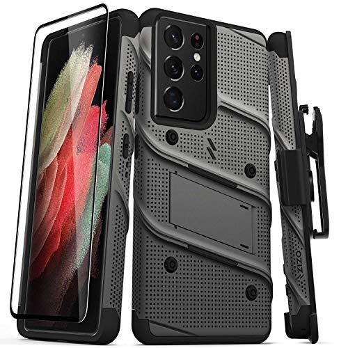 ZIZO Bolt Series for Galaxy S21 Ultra Case with Screen Protector Kickstand Holster Lanyard - Gun Metal Gray