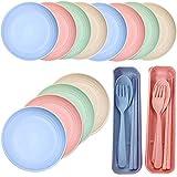 paglia di grano piatti Fiyuer 18 Pcs piatti infrangibili Leggeri Lavabili Piatto da Pranzo microonde lavastoviglie posate paglia di grano per Bambini Neonati Adulti