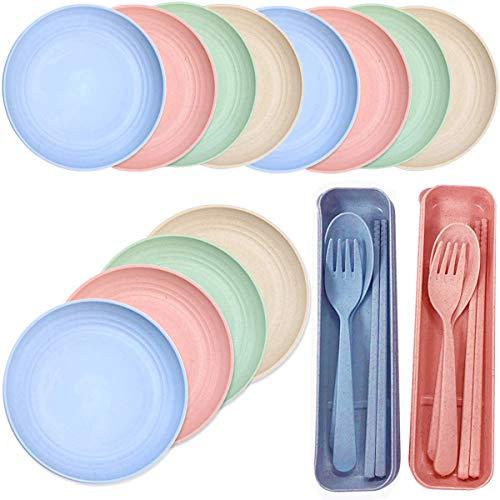 Fiyuer Vajilla de paja de trigo, 18 unidades, portátil, de paja de trigo multicolor, para niños, adultos, microondas y lavavajillas