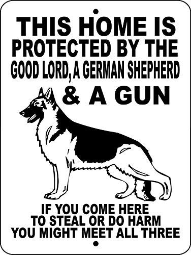 German Shepherd Dog No Trespassing Warning Sign