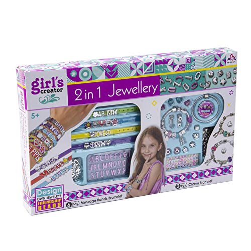 tanbea-UK Jewellery Making Kits DIY Charm Bracelet Making Set Include Gift Box Bracelets Necklace Beads Ornaments Jewelry Gift Supplies Gifts Party Favor Bracelet Craft Sets for Kids Girls Teens