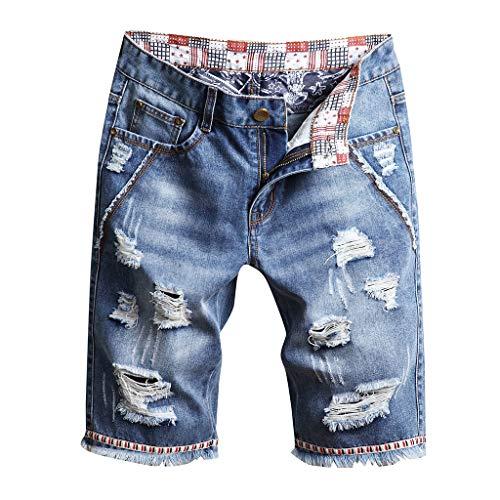 WINJIN Shorts Jean Homme Bermuda Casual Shorts de Vintage Shorts Cargo Short Denim Trou Homme Été Pantalon Court Musculation