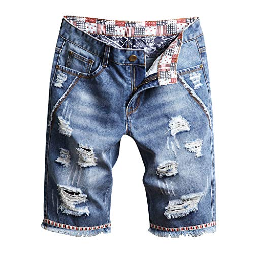 iHPH7 Shorts Jeans Ripped Denim Casual Fashion Ripped Casual Shorts with Hole Men (34,14- Blue)