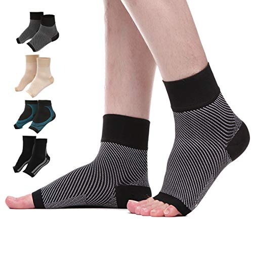 Compression Foot Sleeves for Men&Women Best Plantar Fasciitis Socks for Plantar Fasciitis Pain Relief,Reduce Foot Swelling- Better Than Night Splint Brace (Large/X-Large, Black/White)