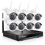 ZOSI 8CH 1080P H.265+ Wireless NVR Enregistreur Vidéo Surveillance avec 8 Caméras de Surveillance sans Fil 2MP 1080P 30m Vision IR APP Gratuite Accès à Distance en 3G/4G sans Disque Dur