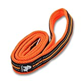 <span class='highlight'><span class='highlight'>Kismaple</span></span> Dog Lead 3M Reflective Stripes Soft 200cm Long and 2.5 cm Wide Strong Breathable Mesh Dogs Leads Rope With Strong Stainless Steel Hook Durable Dogs Leads (Orange)