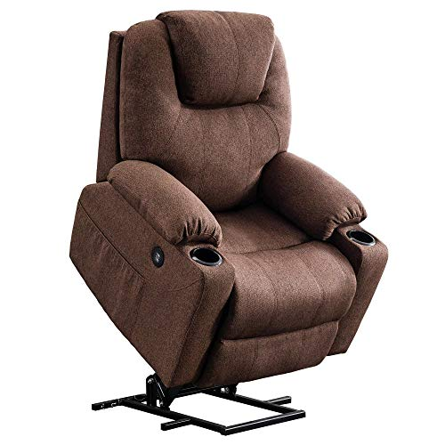 Mcombo Electric Power Lift Recliner Chair Sofa with Massage and Heat for Elderly, 3 Positions, 2 Side Pockets and Cup Holders, USB Ports, Fabric 7040 (Medium, Coffee)