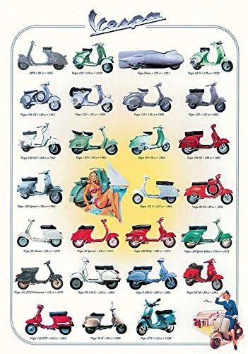 Educational - Bildung Motor Roller - Vespa Bildungsposter Plakat Druck - Version in Englisch - Grösse 68x98 cm