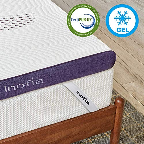 Inofia Gel Memory Foam Mattress Topper, 8CM GELEX Bed Topper with Cover - Washable & Removable, Pressure Relief | Sleep Cooler, 2 Layer Foam Topper for Rest Easy, 100-Night Home Trail (160x200)