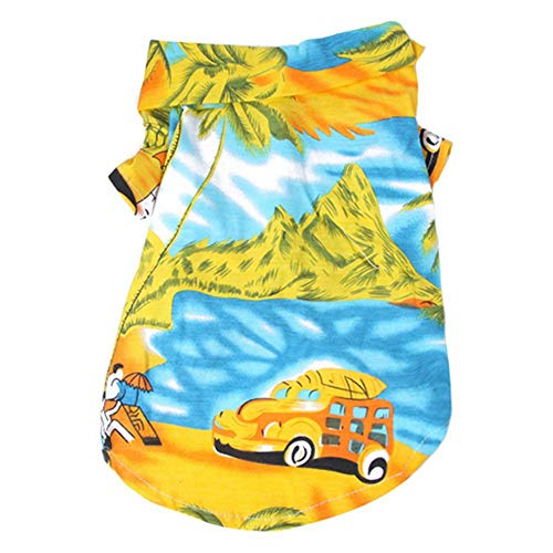 Savlot hondenomerkleding strandhemd hond schattige print Hawaii strand nonchalante huisdier reishird hond korte mouwen hond kat blouse hond ommerkostuum, Small, geel