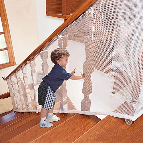Adsoner Child Safety Net - 10ft L x 2.5ft H, Balcony, Patios and Railing Stairs Netting, Safe Rail Net for Kids/Pet/Toy, Sturdy Mesh Fabric Material (White)