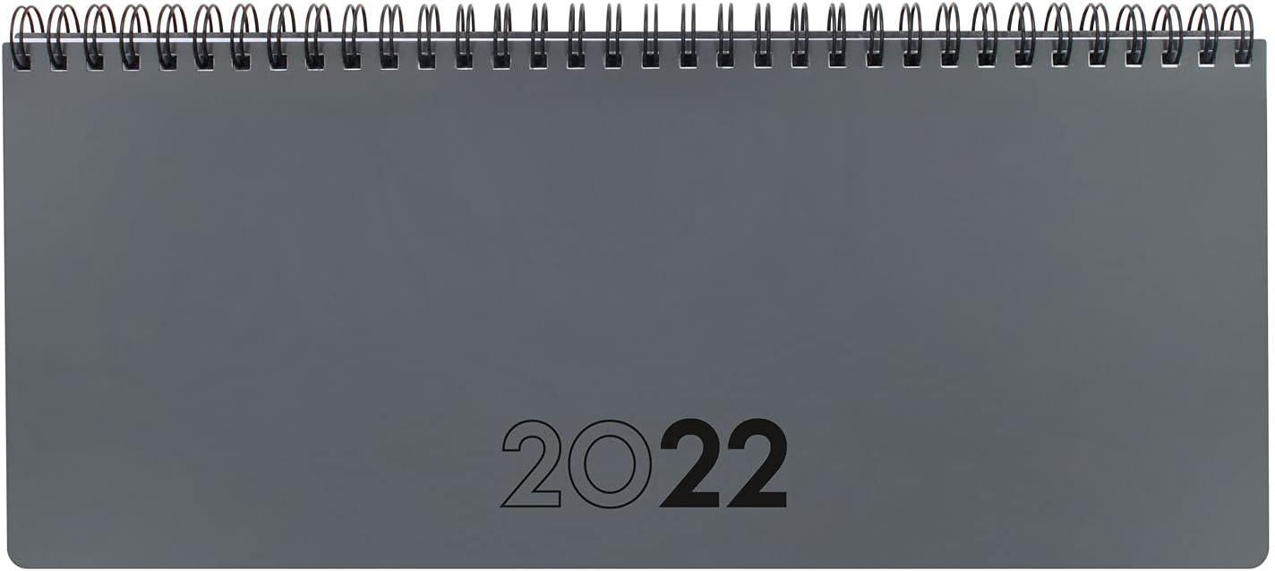 Finocam - Planificador Agenda 2022 Semana vista + notas, de Enero 2022 a Diciembre 2022 (12 meses) 290x116 mm Notas Gris Español