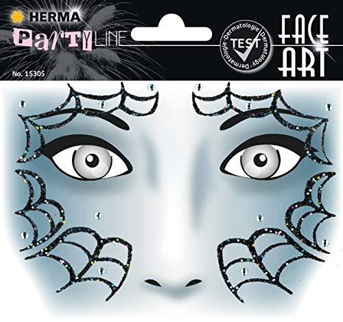 HERMA 15305 Face Art Sticker Spider Gesicht Aufkleber Glitzer Sticker für Fasching, Karneval, Halloween, dermatologisch getestet