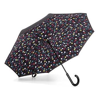 totes InBrella Reverse Close Umbrella Raindrops