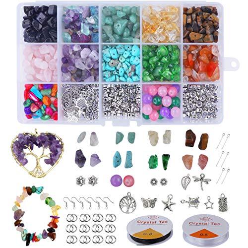 Xiangmall 1017 Piezas Cuentas Piedra Natural Irregulares Piedras Colores Cristal con Gancho...