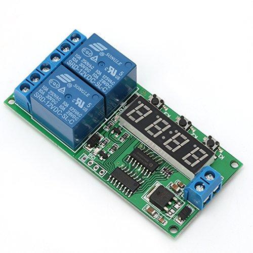 hfior Módulo de relé de temporizador de retardo digital de 2 canales, 12 V CC, temporizador de retardo