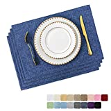 Home Brilliant Set of 4 Placemats Heat Resistant Dining Table Place Mats Kitchen Table Mats, Navy Blue